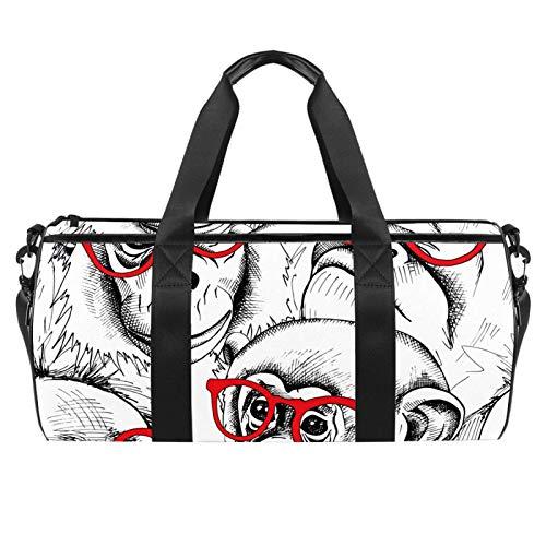 LAZEN Hombro Handy Sports Gym Bags Travel Duffle Totes Bag para hombres, mujeres, monos, retratos en gafas rojas, imagen
