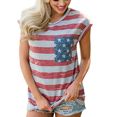 Find Discount Blouses for Women Fashion Srtipe Print Classic-Fit 2020 O-Neck Sleeveless Flag Print S...