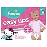 Pampers Easy Ups Training Pants Pull On Disposable Diapers for Girls Size 5 (3T-4T), 148 Count, ONE...