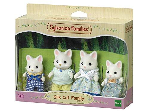 Sylvanian Families - Le Village - La Famille Chat Soie - 4175 - Famille 4 Figurines - Mini Poupées