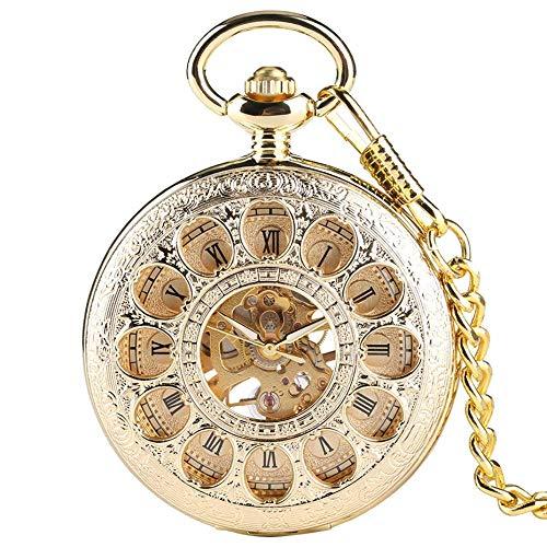 LXDDP Gold Farbe Hohle automatische mechanische Taschenuhr Männer Frauen Handaufzug Uhr Geburtstagsgeschenke