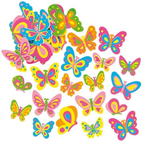 """Baker Ross Moosgummi-Aufkleber """"Schmetterlinge"""" - Sticker Set zum Basteln für Kinder und als Dekoration ideal für Frühling und Karten (102 Stück)"""