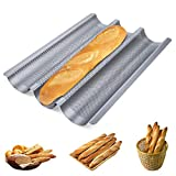 Homewit 3 Mulden Baguette-Backblech, 38.5x28.5x3.5 cm Baguetteblech für 3 Baguettes, Mit Antihaftbeschichtung, Gleichmäßige Erhitzung und Gute Wärmeleitfähigkeit, Für Familie, Restaurant, Bäckerei usw