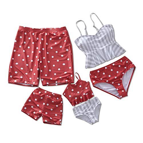 Yaffi Familie Zwemkleding Mama en Ik Matching Twee Stuk Bikini Set 2019 Nieuwste Polka Dot Gedrukt Badpak