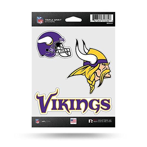 NFL Triple Spirit Stickersnfl Triple Spirit Sticker, Kastanienbraun, Weiß, Schwarz, 3 Team Sticker, NFL Rico Vikings Triple Spirit Stickers, Teamfarbe, 5 x 7-inches