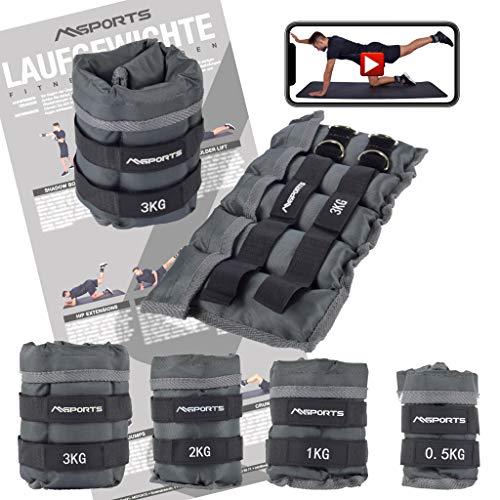 MSPORTS Gewichtsmanschetten Professional -einstellbar- Paar von 0,5-3 kg Fuß- und Hand-Gewichte inkl. Übungsposter + Work Out App GRATIS (3,0 kg Paar)