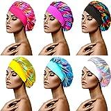 6 Pieces Satin Sleep Cap Elastic Wide Band Hat Adjustable Satin Bonnet Colorful Hair Bonnet for Women Girls (Solid Color)