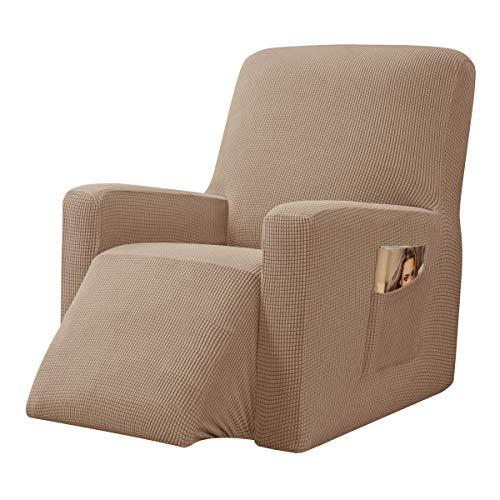 CHUN YI Strech Recliner Überzug Sessel Husse, Bezug für Relax Fernsehsessel Relaxstuhl, 1 stück Jacquard Stuhl Schonbezug mit Gummiband, Liege Sessel (Kamel)