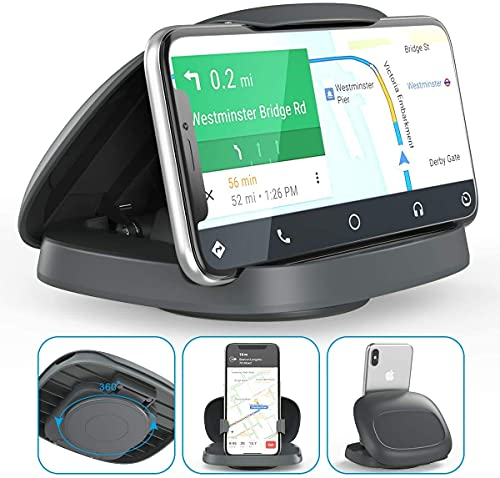 Car Phone Mount, Tophot Cell Phone Holder for Car : Vertical Horizontal Car Phone Holder with 360° Rotate Detachable Strong Sticky Base, Compatible iPhone Samsung Galaxy Android Smartphones