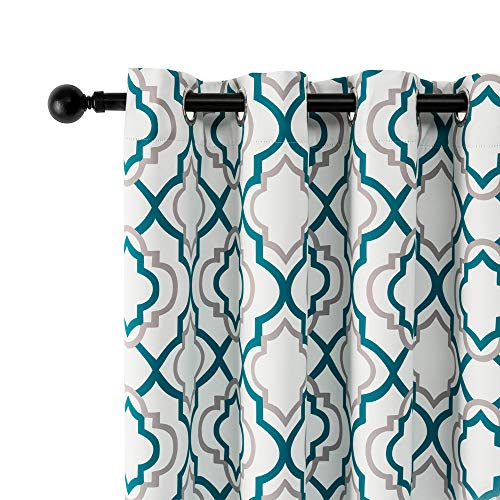 """Reepow Teal Blackout Curtains 84 Inch Length 2 Panels, Moroccan Fashion Grommet Light Blocking Window Curtain for Bedroom Dining Room - 52""""x84"""""""
