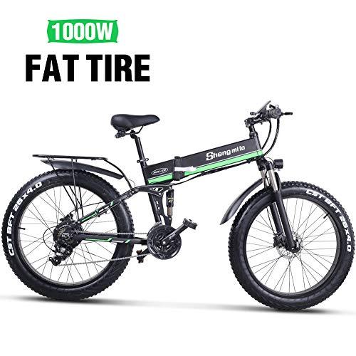 e Bike Elektrofahrrad Mountainbike Klapprad Fahrrad Herren Damen Gebraucht 1000W 48V Batterie 26 Zoll Shimano 21 Speed (Schwarz Grün)