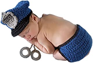 Pinbo® Newborn Baby Photo Prop Crochet Police Policeman Hat Diaper Handcuffs