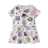 Kleid für Mädchen Kurzarm Baumwolle Weiß Cartoon Anime Drucken Brief Applikation Kinderkleidung Kinder Mädchen Kleid T-Shirt 1-8 Jahre Alt