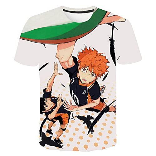 PERRTWDLF Camiseta Informal Camiseta de Voleibol Junior Hombre Mujer impresin 3D Manga Corta Unisex Verano Anime japons Divertido Camiseta Adolescente Ropa deportiva-1111_XS