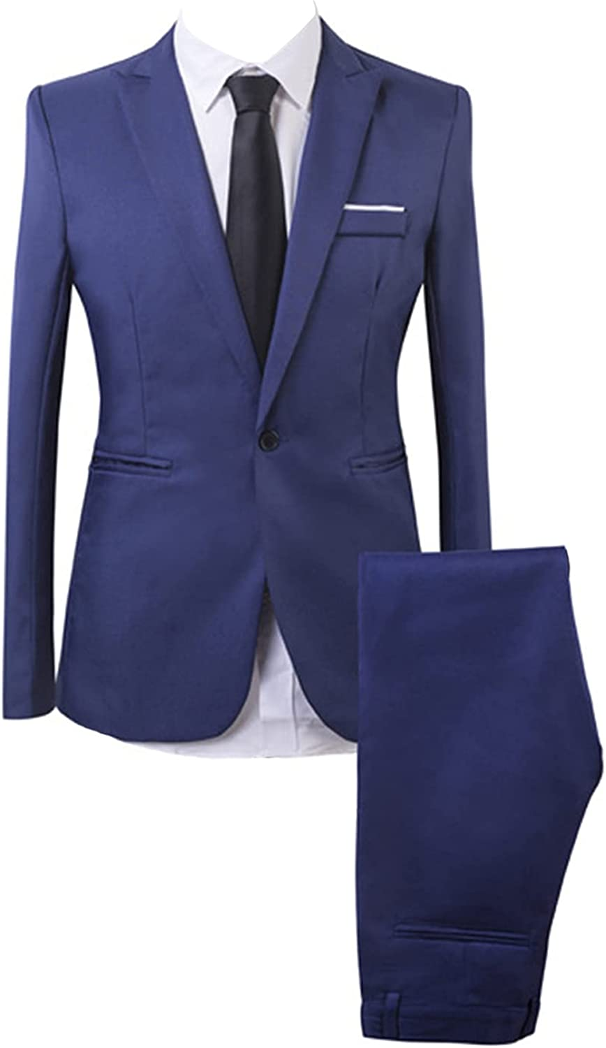 Mens discount San Francisco Mall 2 Piece Suit One Button Formal Solid Fit Slim Fashion Color
