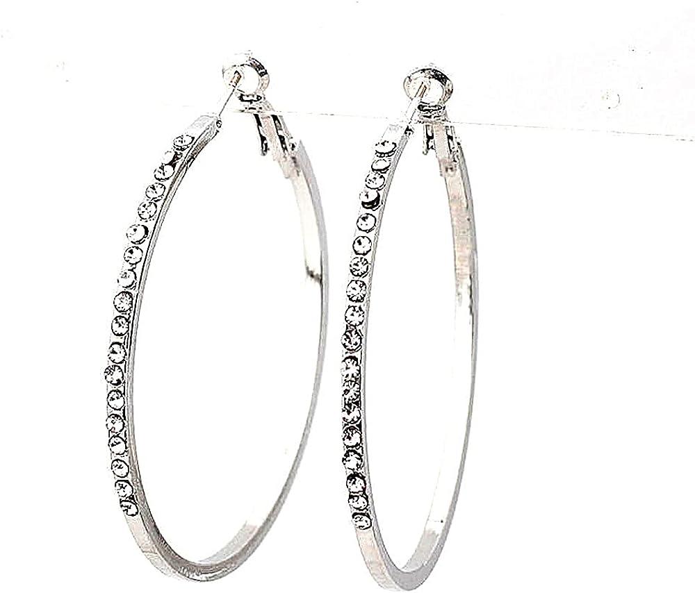 1 Pair Hoop Earrings for Women - 14K Rose Gold Plated Hypoallergenic Lightweight CZ Big Hoop Earrings Set (45MM)