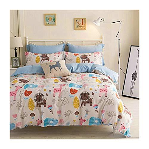 KFZ Animal Zoo Lion Design White Bedding Set [4pcs Queen Size Bedding- One 80