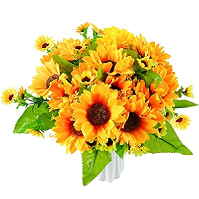 Artificial Fall Silk Sunflowers Bright Yellow S...
