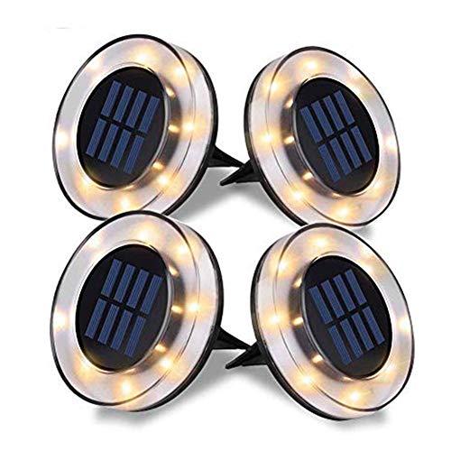 Luces Solar de Tierra Luz 8 LED, WZTO 800LM Luces Solares Jardin Impermeable Lámpara en el Exterior, Patio, Entrada de Garaje, Césped, Decoración de Camin