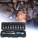 Kacsoo Llave dinamométrica de 1/4'para bicicletas y motocicletas, kits de herramientas de enchufe de 11 piezas con barra de extensión y caja de almacenamiento protectora, 2-24 nm Azul