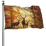 Dem Boswell Garten Flagge Hirsch im Herbst Wald Garten Fahnen langlebig verblassen beständig dekorative Fahnen Outdoor Banner für alle Jahreszeiten Urlaub 180 X 120 cm