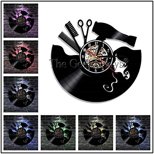 FDGFDG Herramienta de peluquería Logo Reloj de Pared de Disco de Vinilo Reloj de Pared de barbería decoración salón de Belleza Regalo de peluquería de Belleza