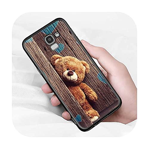 Cute Animal Bear per Samsung Galaxy J2 J3 J4 Core J5 J6 J7 J8 Prime duo Plus 2018 2017 2016 Soft Black Phone Cover-Style 01-per J4 Plus 2018