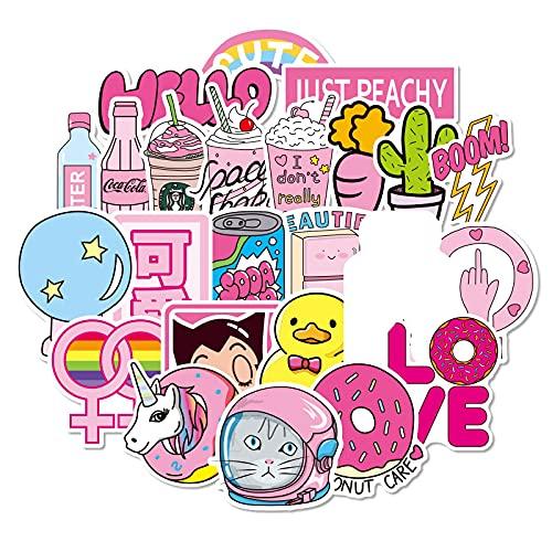 MBGM 100 pegatinas rosadas lindas chicas equipaje portátil personalizado decoración impermeable pegatinas