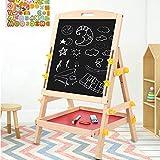 Ausla Planche à Dessin Double Face pour Enfants,Chevalet de Dessin Portable Réglable en Hauteur,Tableau de Peinture Debout 28 x 34 x 58 cm