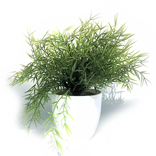 WHW Whole House Worlds Realistic Faux Baby Lemon Grass, Potted Plant, Houseplant, Kitchen, Lushly Leafed, White Pot, 6 Inches Diameter x 9.75 Tall