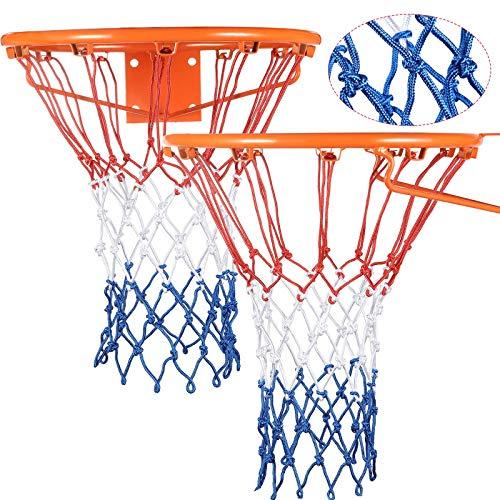 Syhood 2 Paquetes Redes de Canasta Red de Aro de Repuesto para Casi Todo Tiempo, Ajuste Aro de Baloncesto Estándar Interior o Exterior, 12 Bucle (Blanco, Rojo y Azul)