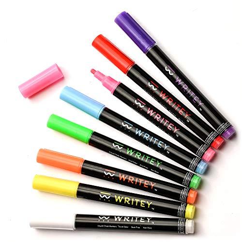 Fine Tip Chalk Markers - 8 Neon Liquid Chalk Markers - Chalk Markers for Blackboard, Chalkboard Signs, Chalk labels - 3mm Chalk Pens , Dry Erase Chalk Markers & Wet Erase Liquid Chalk Markers