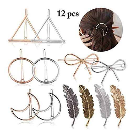 VIcoo 12 delen/set mode vrouwen haarspeld haarspeld driehoek ronde geometrische vorm gebogen knopen eenvoudige haarspeld meisjes haaraccessoires charming sieraden - 3