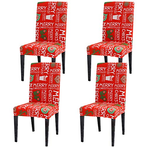 Ogrmar 4PCS Stretch Removable Washable Dining Room Chair Protector Slipcovers Christmas Decoration/Home Decor Dining Room Seat Cover ChristmasA