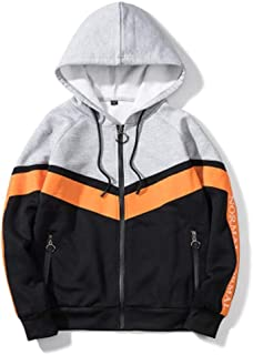 Dqzhmsb Hooded Zip Cardigan Sweater Casual Sweater Men's Fashion Style (Color : Orange, Size : XL)