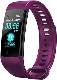 Rastreador de salud, reloj Bluetooth ritmo cardíaco presión arterial detección de oxígeno cronómetro medidor de deportes paso pantalla a color sentido de la luz pantalla inteligente pulsera,purple