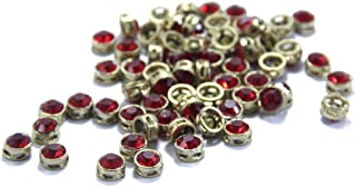 The Design Cart Red Circular Golden Kundan Stones, 1 cm, for Jewellery Making,Craft,Embroidery,Saree,Blouse Work and Dress Making (Pack of 50 Pieces)