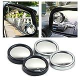 Xiaokai 2pcs / Set de 360 Grados Ajustable sin Fin Circular de ángulo Muerto del Espejo for estacionamiento Auxiliar Espejo retrovisor para Coche, camión, Todoterreno (Color : Silver)