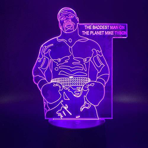 Luz de noche 3D Lámpara de mesilla de noche Jugador de boxeo deportivo 3D Mike Tyson Figura Luz de noche LED Regalo para decoración de sala de oficina Ambiente Luz nocturnaFFFZDCKAY