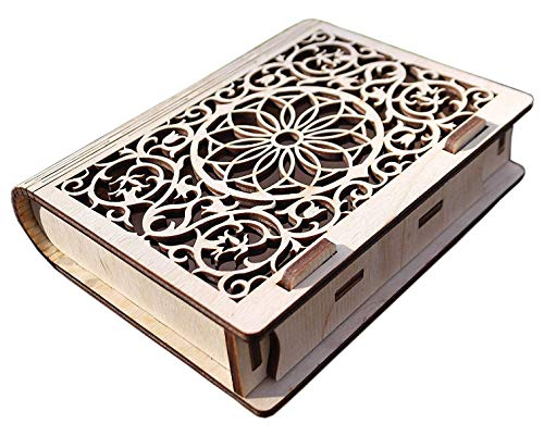 Etno Motif Wooden Jewelry Box Decorative Cassette Carved Bookcase Book Box Laser Cut and Handmade Wooden Book Puzzle Bohemian Great Gift for Book Lovers