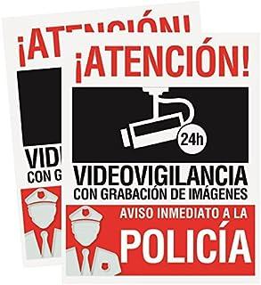 Pack 2 carteles rígidos 15 x 19cm Atencion alarma conectada videovigilancia con grabación de imágenes Carteles