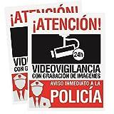 Pegatina-Cartel disuasorio alarma 15 x 19cm Atencion alarma conectada videovigilancia con grabación de imágenes. Uso exterior Pegatina identificativo aviso inmediato policia (2 uds - PVC Rígido)