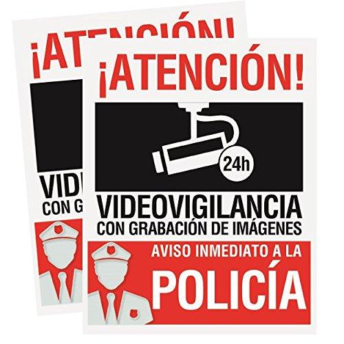 Pack 2 carteles rígidos 15 x 19cm Atencion alarma conectada videovigilancia con grabación de imágenes Carteles disuasorios rígidos Uso exterior Cartel identificativo aviso inmediato policia
