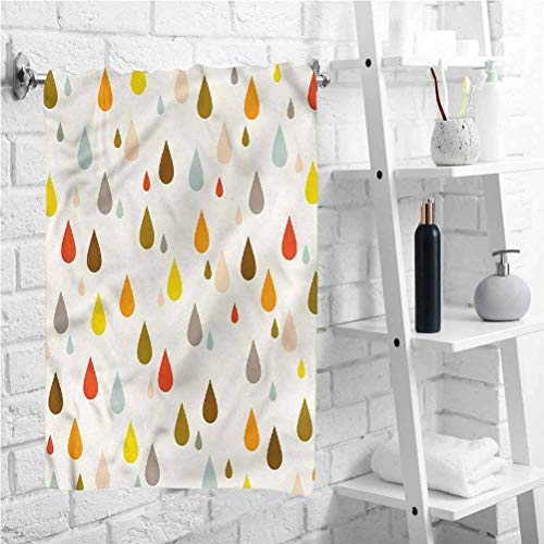W 12 X L 28 inch Easy to Dry Towel,Retro Water Drops Rain,Luxury Hotel & Spa Quality Bath Towels,Best Lightweight Towel for The Swimming,Sports,Beach