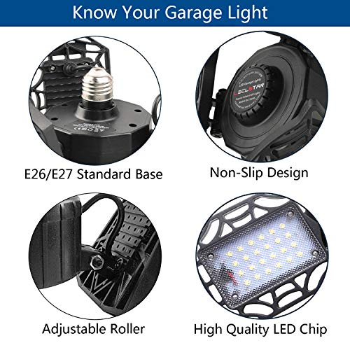 2-Pack LED Garage Lights 80W - 6000K Garage Lights Ceiling LED, 8000LM Deformable LED Garage Lighting Fixture, Shop Light with Adjustable Multi-Position Panels, LED Glow Light for Garage, Workshop 6
