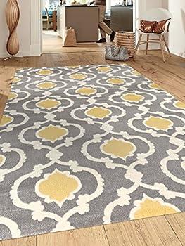 Moroccan Trellis Contemporary Gray/Yellow 5 3  x 7 3  Indoor Area Rug