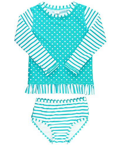 RuffleButts Girls Rash Guard 2-Piece Swimsuit Set – Long Sleeve Bikini with UPF 50+ Sun Protection