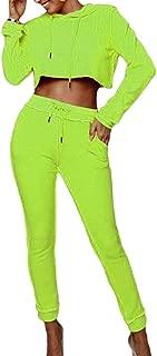 Womens 2 Piece Outfits Sweatshirt Hoodie Crop Top and Pants Sweatsuits Set