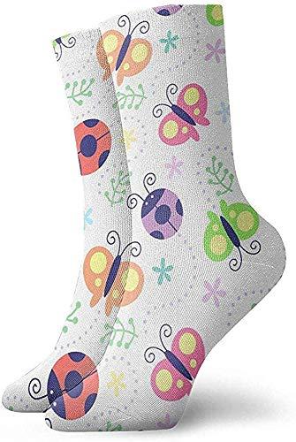 iuitt7rtree Lustige Socken, lässige Crew-Socken, für Damen und Herren, Sportsocken, Halloween, Cosplay-Socken, Farben Marienkäfer, Schmetterlingsmuster, nahtlos, 30 cm