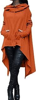 Women Casual Pockets Long Hoodies Loose Solid Color Pullover Hoodie Irregular Hem Sweatshirts Dress
